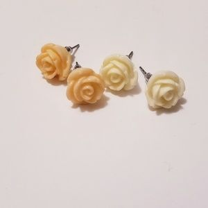 Rose earring studs - two pairs